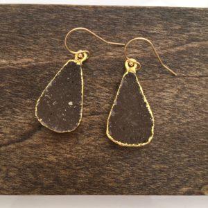 brown druzy gemstone earrings
