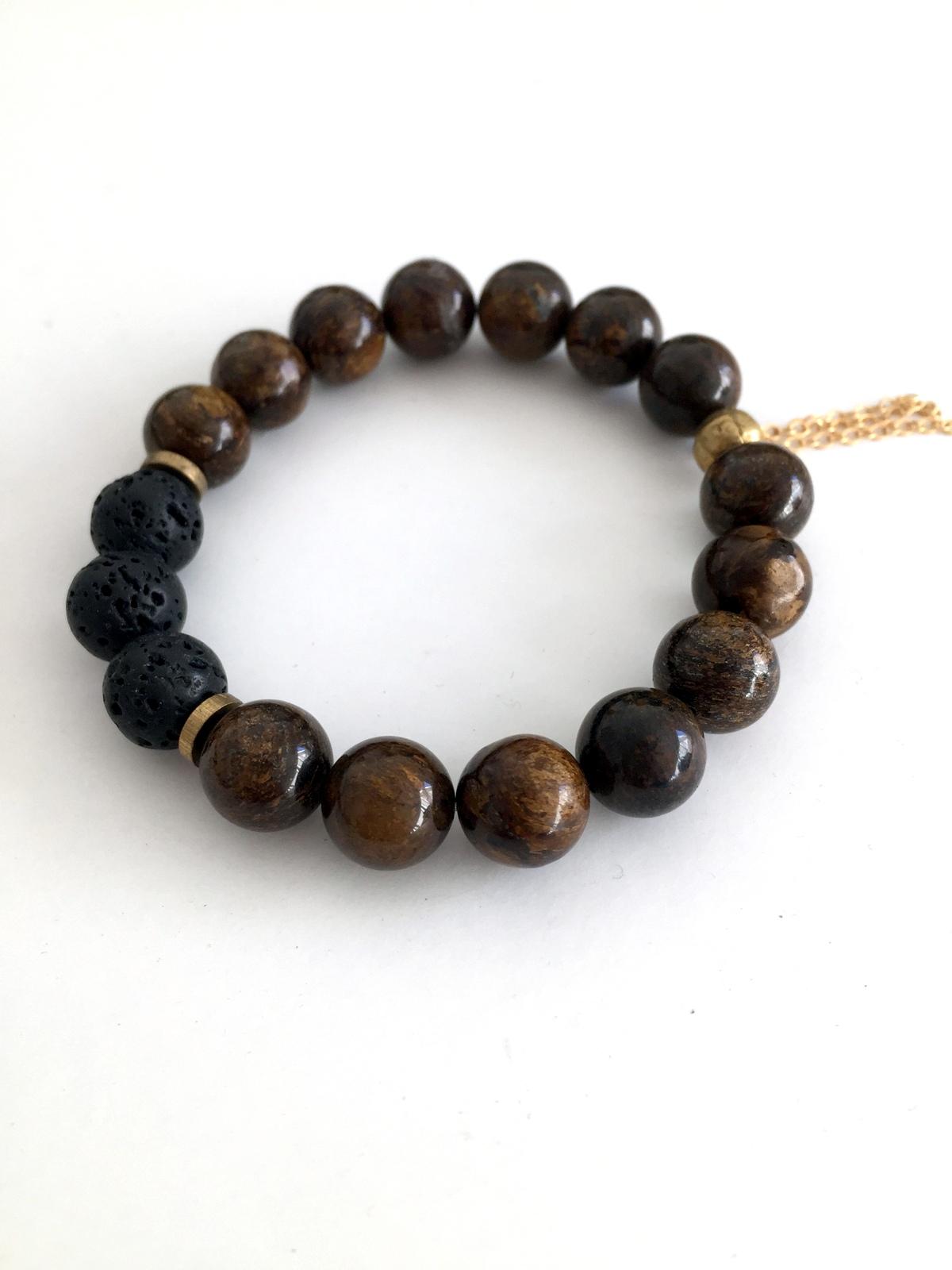 bronzite gemstone bracelet handmade jewelry by jewelry