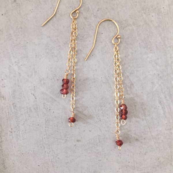 garnet drop earrings - handmade