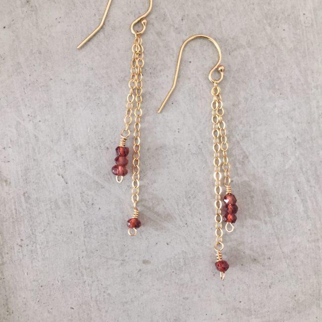 garnet drop earrings - handmade