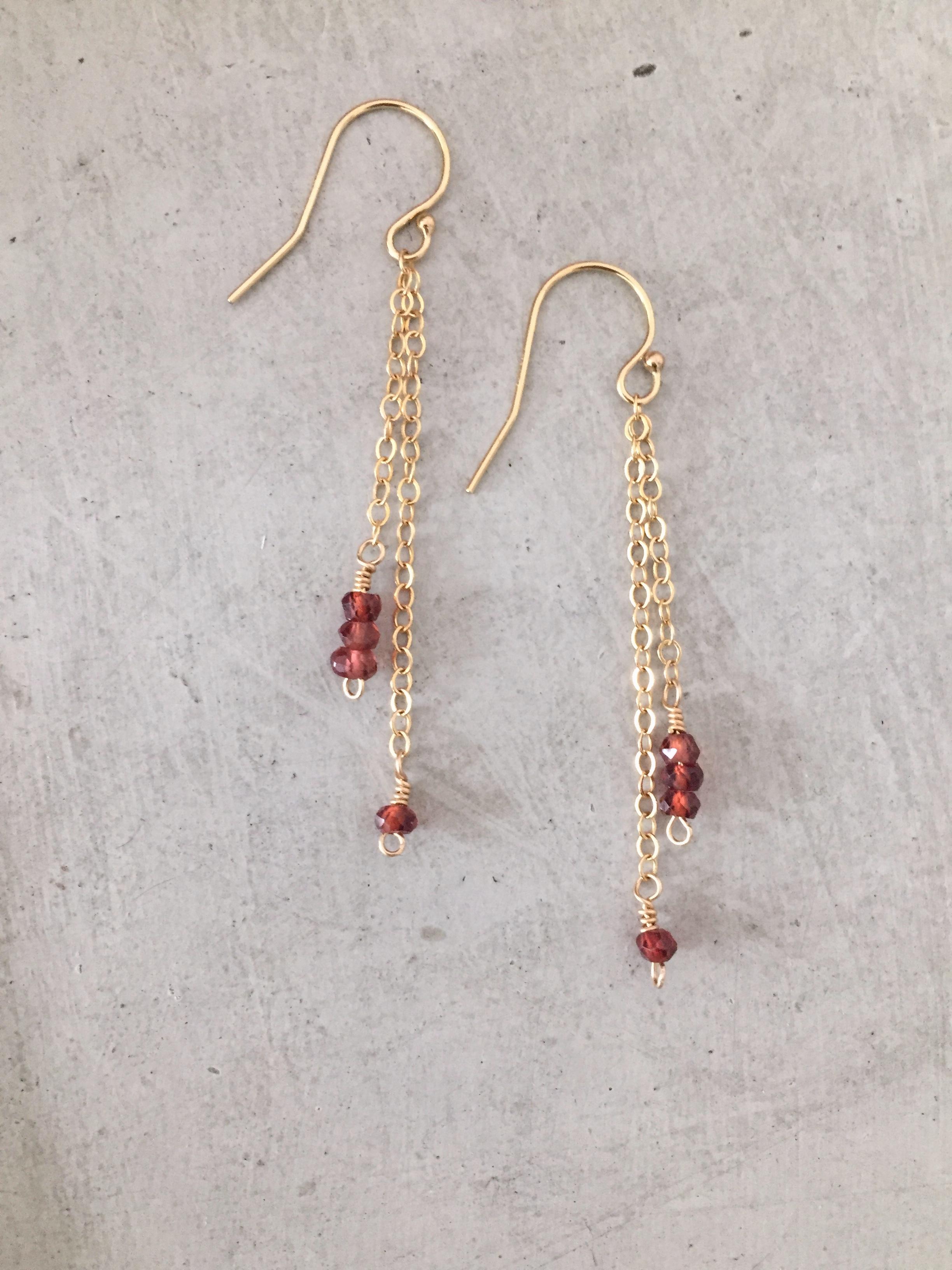 Garnet drop earrings reija eden jewelry for Custom made jewelry stores