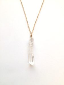 raw quartz necklace