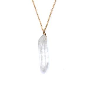 raw quartz necklace - gold - handmade