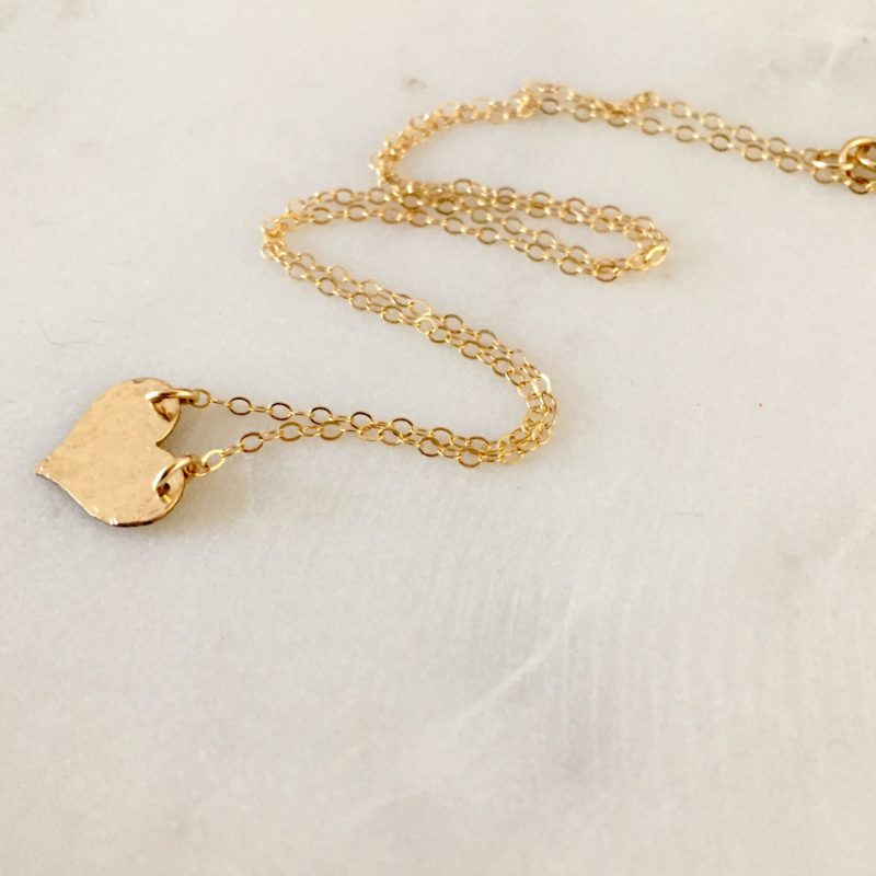 hand ammered gold heart necklace