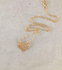 handmade gold heart necklace