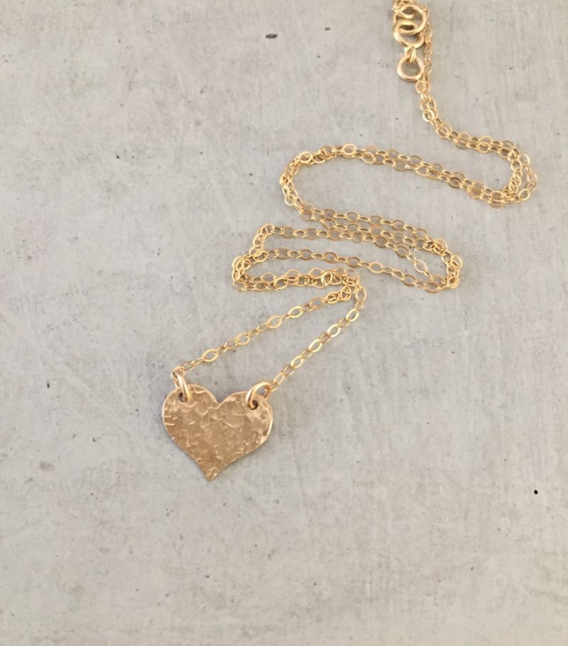 handmade gold heart necklace
