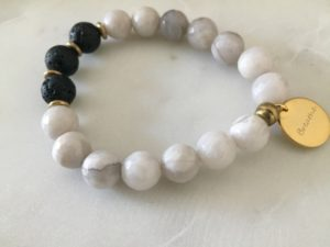 agate gemstone bracelet - breathe charm