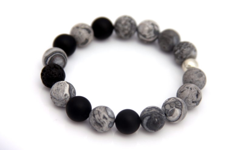 grey lava bead bracelet - essential oil diffuser jewelry