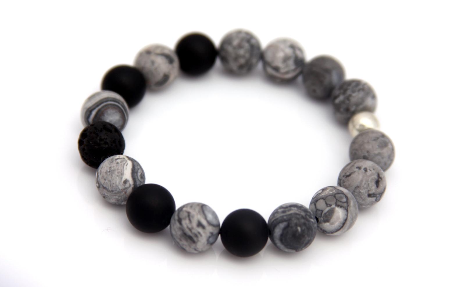Grey Lava Bead Bracelet Handmade Jewelry By Jewelry