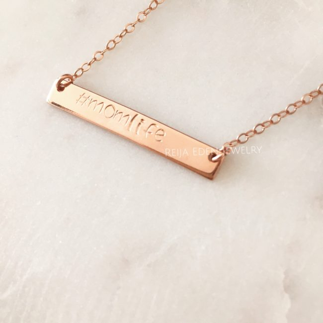 hand stamped #momlife necklace