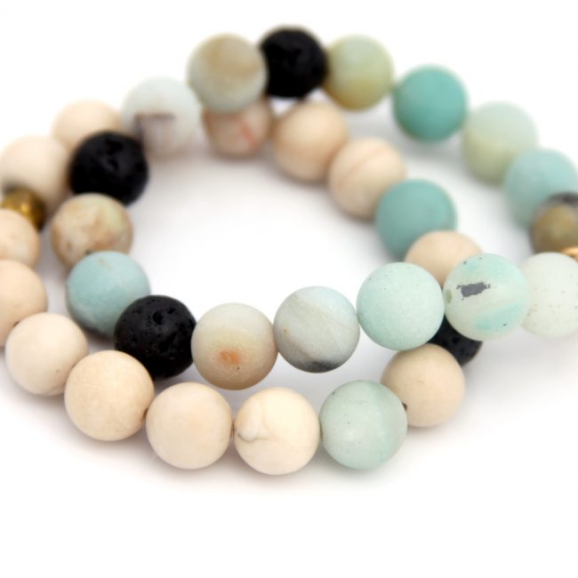 amazonite and riverstone bracelet set