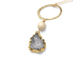 gold druzy necklace - one of a kind