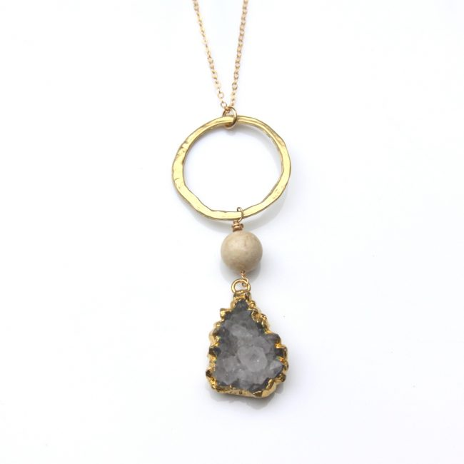 grey druzy necklace - gold - one of a kind