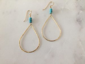 handmade gold turquoise earrings