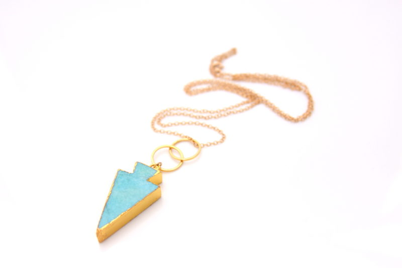 handmade gold turquoise necklace