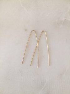 simple gold earrings - handmade