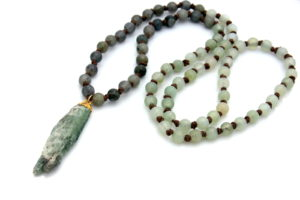 handmade long knotted necklace