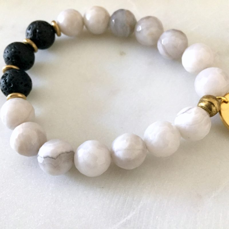 marble bracelet, charm bracelet, breathe