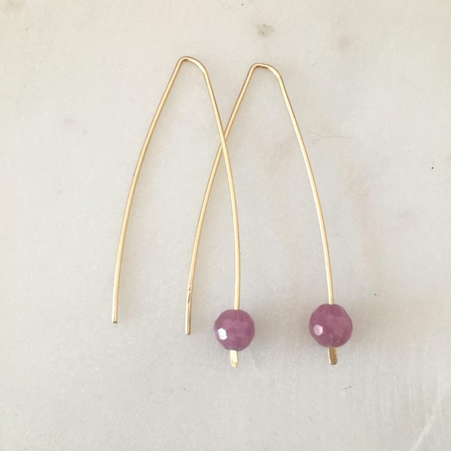 modern ruby earrings - handmade by jewelry designer Reija Eden