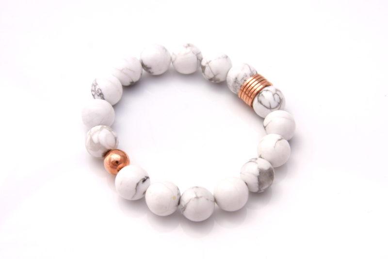 rose gold white howlite bracelet