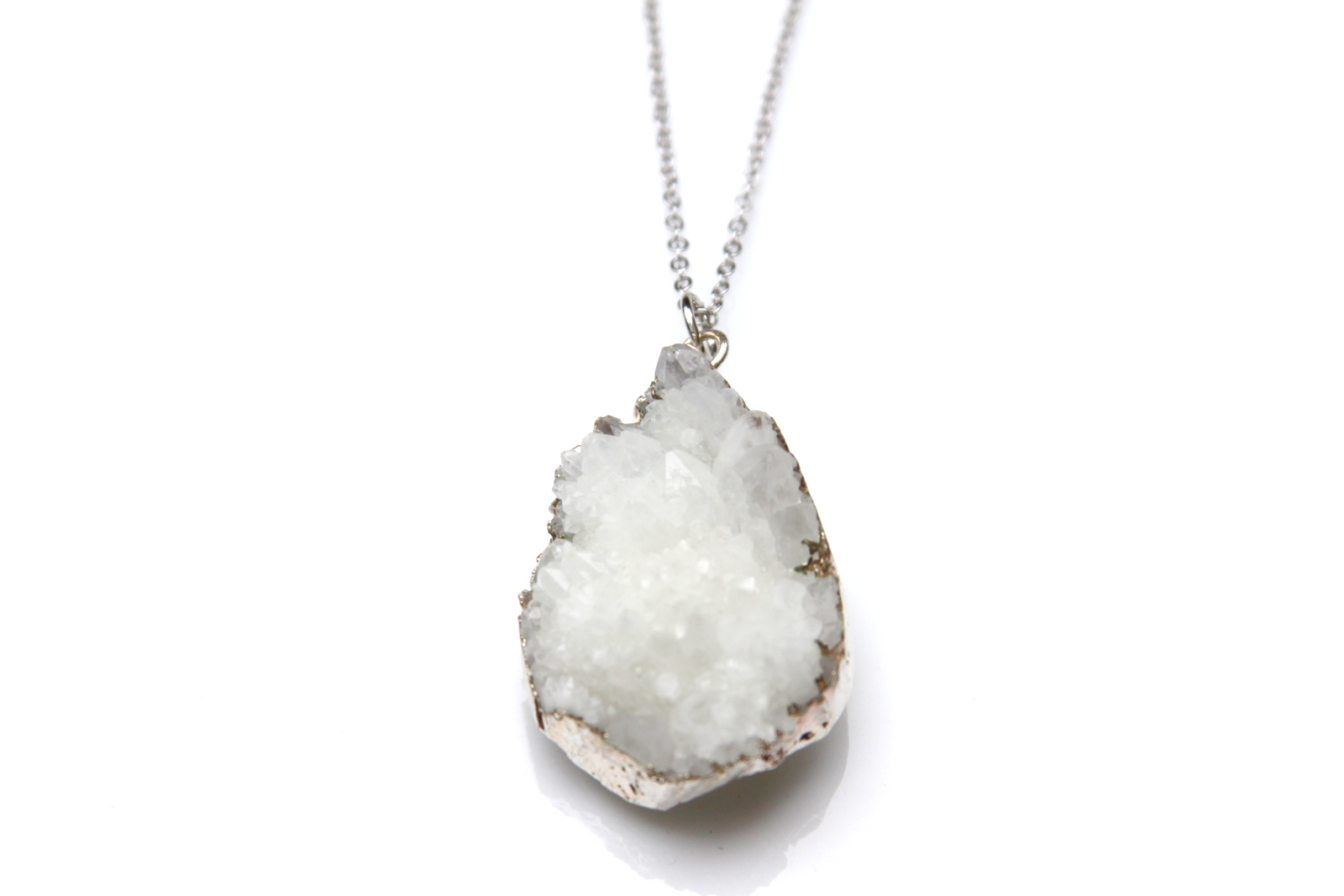 White Druzy Necklace Reija Eden Jewelry