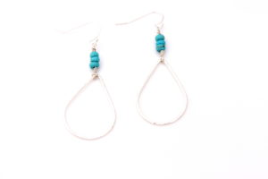 sterling silver teadrop turquoise earrings