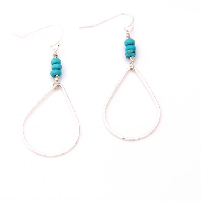sterling silver teadrop turquoise earrings