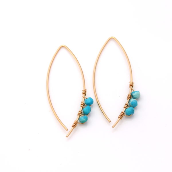 modern turquoise earrings - gold