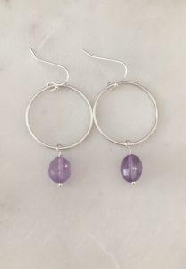 amethyst circle earrings