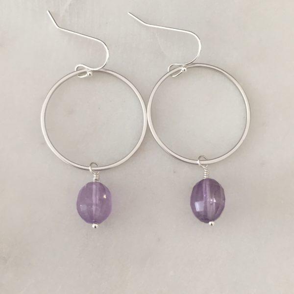 amethyst circle earrings