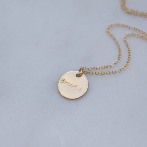 handstamped gold necklace - breathe