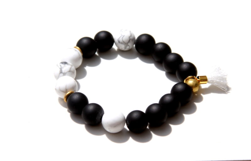 black and white gemstone bracelet
