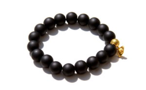 black onyx bracelet with an evil eye charm