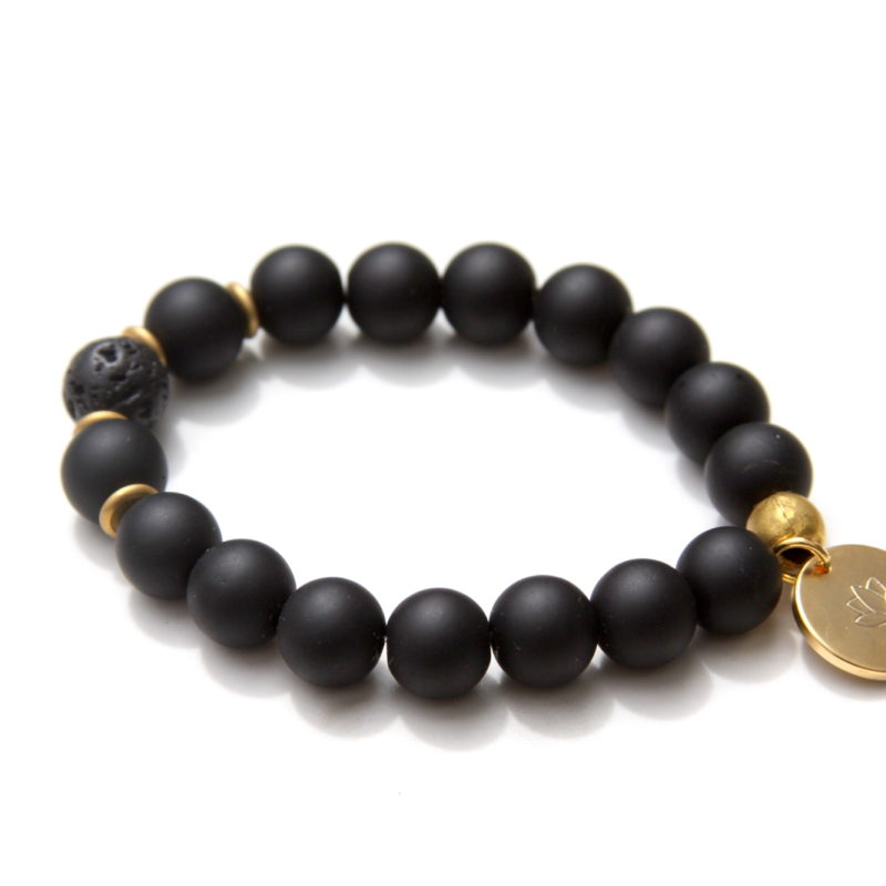 lotus bracelet - black onyx