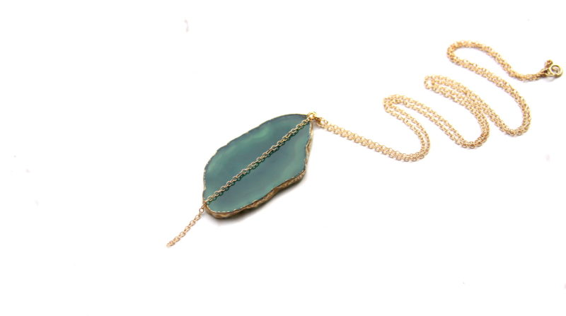 gold agate necklace - handmade