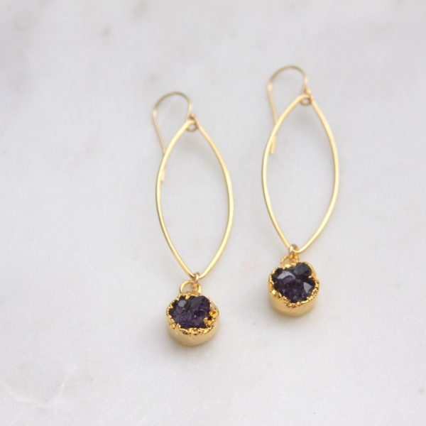 amethyst druzy earrings - gold