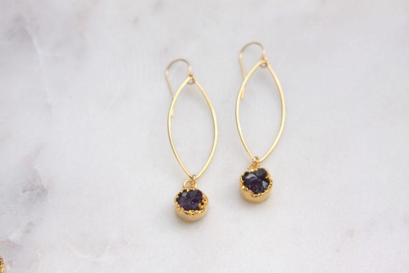 amethyst druzy earrings - gold