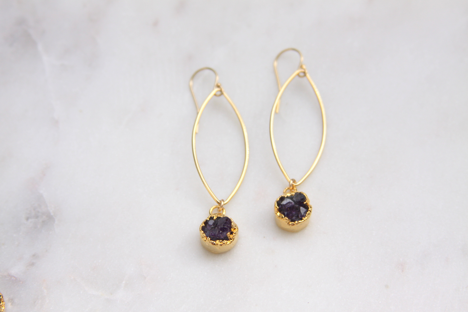 Amethyst Druzy Earrings Gold