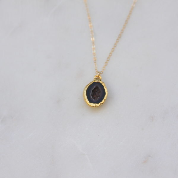 black stone necklace - gold