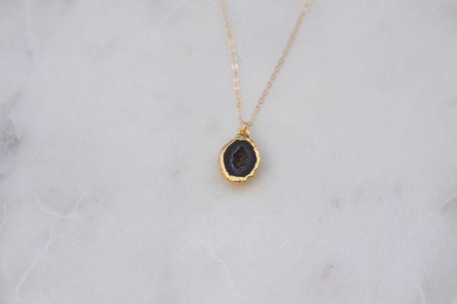 Black Stone Necklace Gold Reija Eden Jewelry
