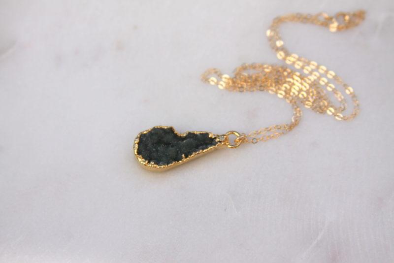 gold druzy necklace - handmade