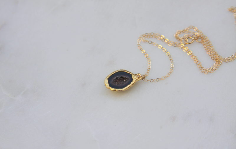gold necklace with a druzy stone