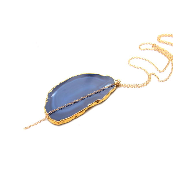 gold necklace with blue agate pendant