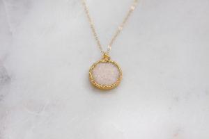 snow white druzy necklace