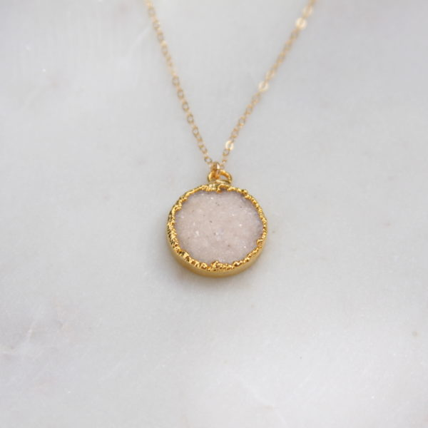 snow white druzy necklace