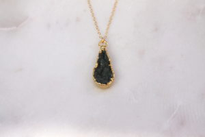 teardrop druzy necklace - gold