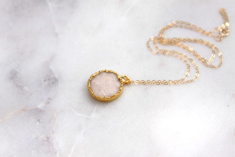 white druzy necklace