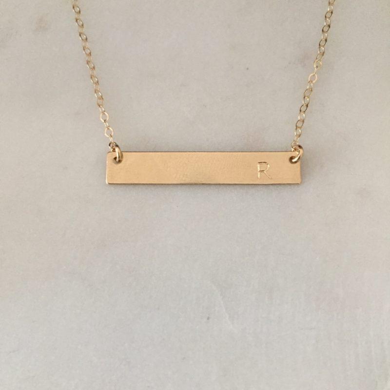 gold bar name necklace