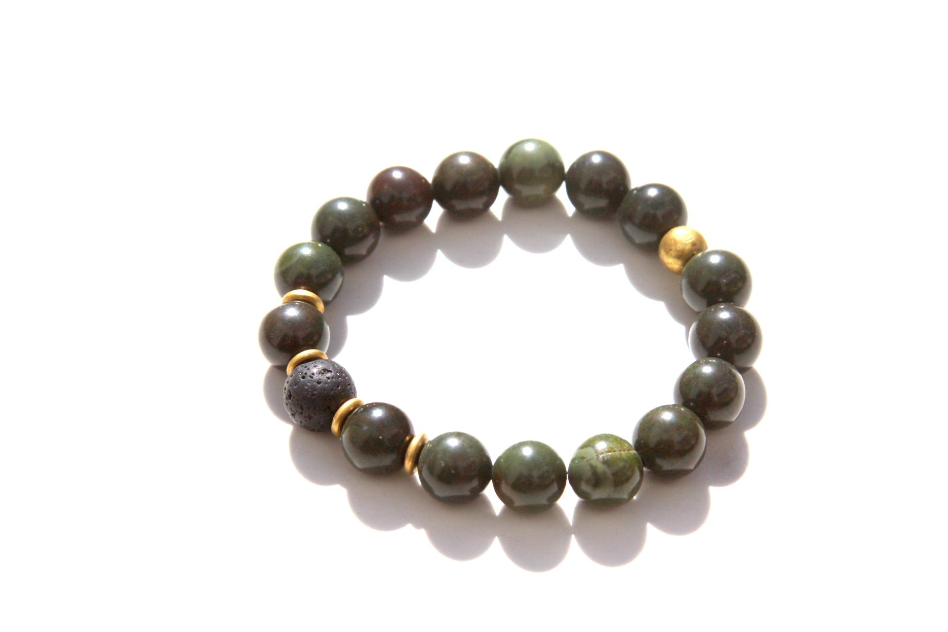 Gemstone Bracelet Green Bracelet Green and Silver Stretch Bracelet Jungle Jasper Modern Bracelet Green Jasper Stone Bracelet Smooth