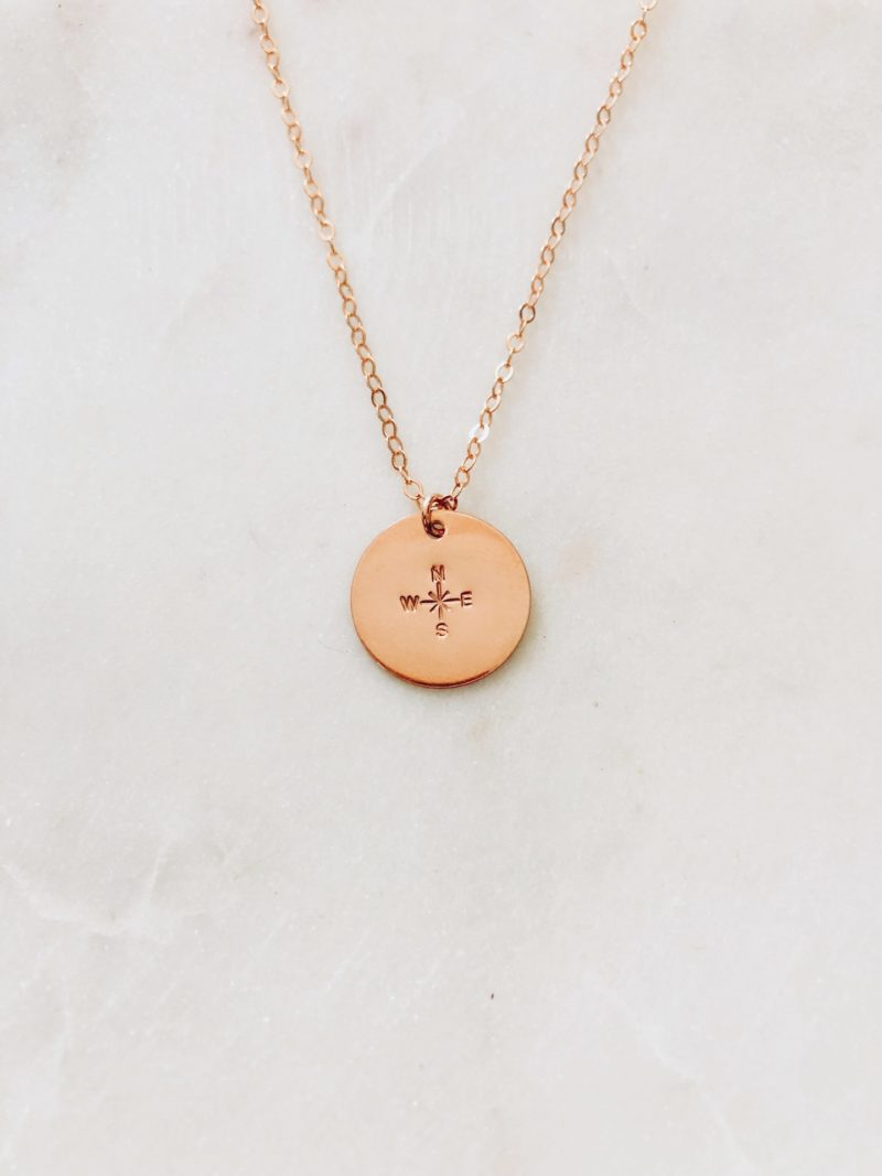rose gold compass necklace - hand stamped